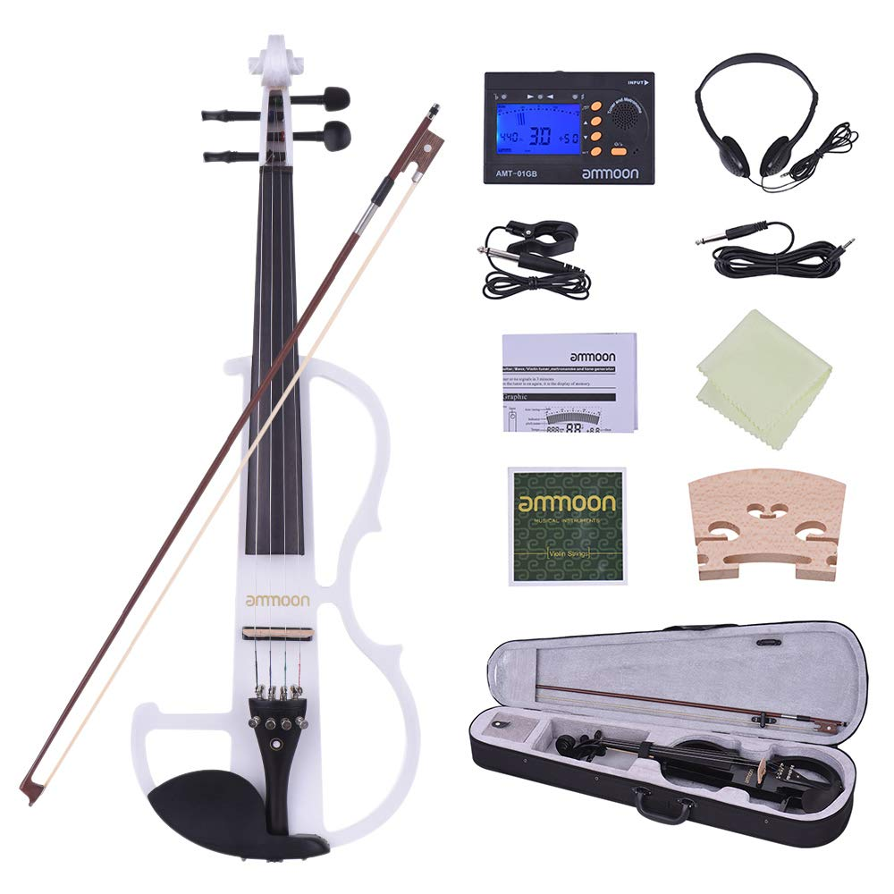 Full Size 4/4 Solid Wood Electric Silent Violin Fiddle Style-2 Ebony Fingerboard Pegs Chin Rest Tailpiece with Bow Hard Case Tuner Headphones Extra Strings & Bridge by Godyluck