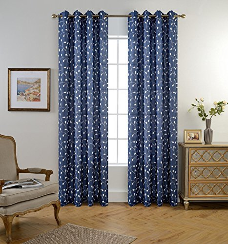 MIUCO Floral Embroidered Semi-Sheer Curtains Faux Linen Grommet Window Panels for Doors 52 x 95 Inch 2 Panels, Navy Blue