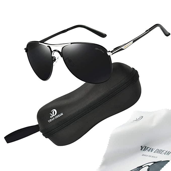 f1f170f94e Polarized Aviator Sunglasses Mens Womens by YIFAN DREAM - 61mm Non-mirrored  UV400 protection lens Sturdy Lightweight Frame with Glasses Case suitable  ...