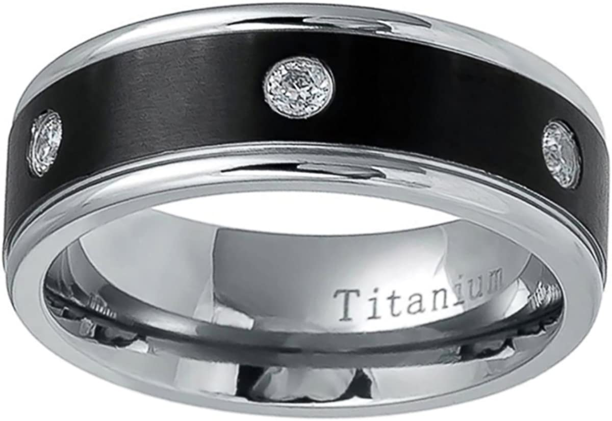 Prime Pristine Titanium Wedding Band Ring 8mm Black Two Tone CZ Ring