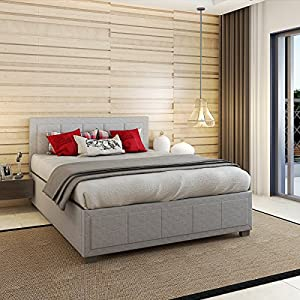 PANANASTORE 4FT6 Gaslift Fabric Wood Bed Frame with Storage Ottoman Double Bed for Adults Children Teenagers Grey