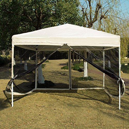 White Outdoor Easy Pop Up Canopy Screen Party Tent with Mesh Side Walls 10 x 10 ft