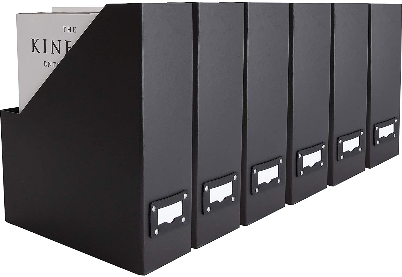 Blu Monaco Foldable Black Magazine File Holder With Leather Label Holder Set Of 6 Cardboard Magazine File Boxes Desk File Organizer Office Products