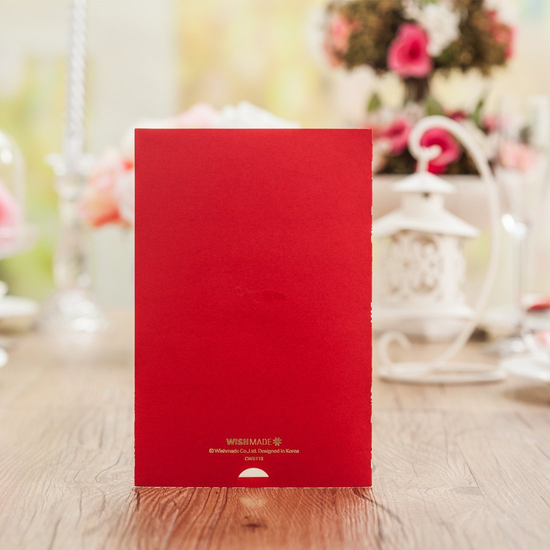 Wishmade 50x Elegant Red Laser Cut Wedding Invitations Cards with ...