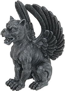 PTC Resin Medieval Sitting Winged Lioness Gargoyle Figurine Statue