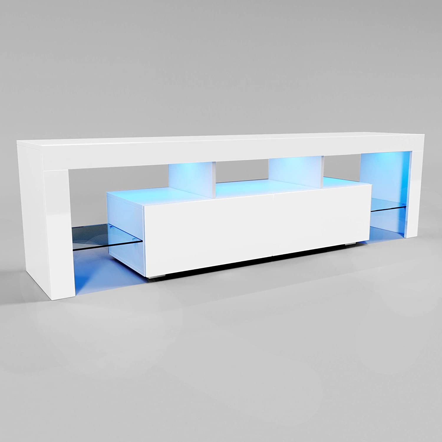 Elegant 1600mm Tv Stand With Led Lights Ambient Tv Cabinet Modern White Gloss For 32 40 43 50 52 55 60 65 Inch 4k Tv Living Room And Bedroom With Storages Home Furniture Amazon Co Uk Kitchen Home