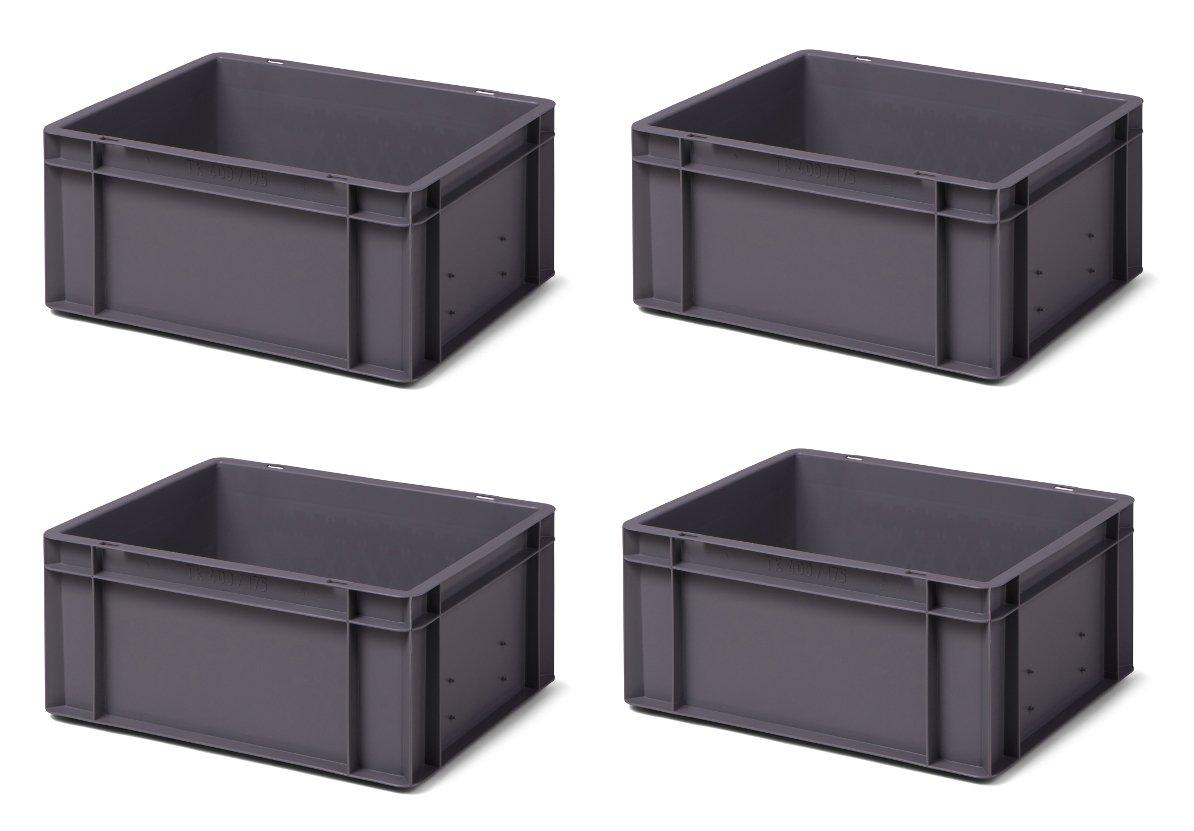 4 Stk. Transport-Stapelkasten TK417-0, grau, 400x300x175 mm (LxBxH), aus PP, Volumen: 15 Liter, Traglast: 35 kg, lebensmittelecht, made in Germany, Industriequalitä t 1a-Topstore