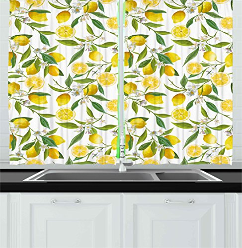 Ambesonne Nature Kitchen Curtains, Exotic Lemon Tree Branche