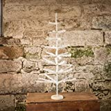 48 IN ANTIQUE WHITE FEATHER TREE WITH WHITE WOOD BASE