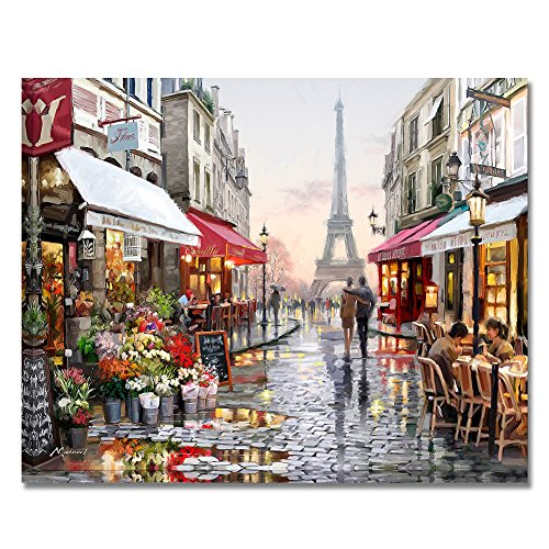 Rihe DIY Oil Painting Paint By Numbers Kits Mounted on Wood Frame with Brushes Acrylics Painting Kits on Canvas for Adults Kids Beginner - Eiffel Tower Street 16x20 Inch(Wooden - Architecture Framed