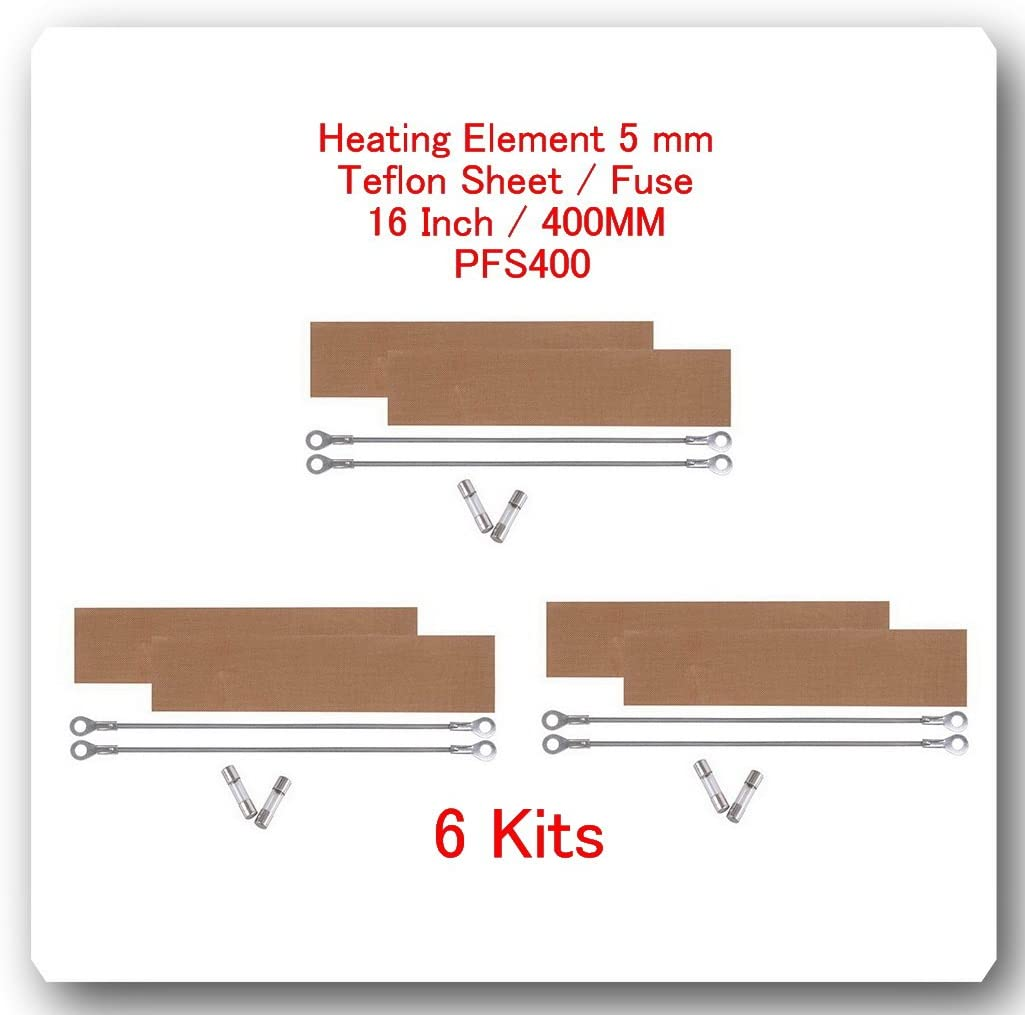 "6 Kits Replacement Elements for Impulse Sealer PFS400 16"" / 400MM (6 Heating Elements 5mm +6 Teflon Sheets +6 Fuses)"