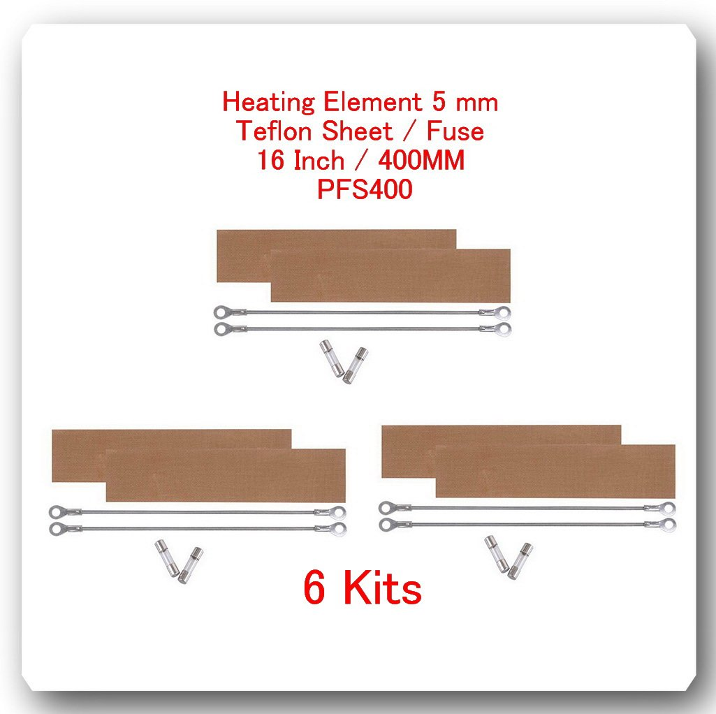 6 Kits Replacement Elements for Impulse Sealer PFS400 16'' / 400MM (6 Heating Elements 5mm +6 Teflon Sheets +6 Fuses)