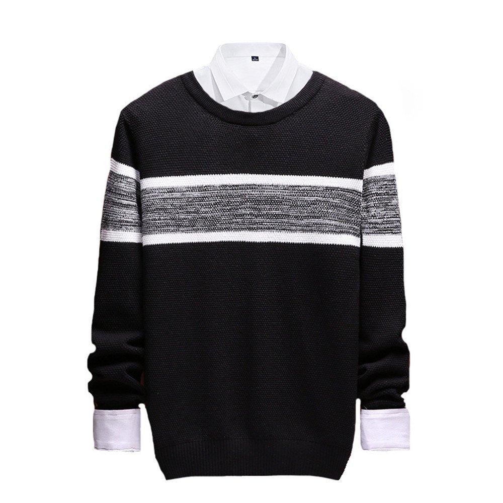 Jdfosvm männer langärmelige Pullover lässig Pullover gestreiften Pullover - t - Shirt aus Stimmen überein,schwarz,XL