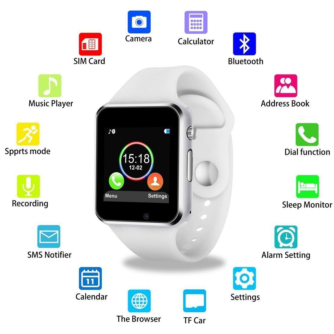 Smartwatch KKCITE de 1,54 pulgadas, pantalla táctil, 2 G, tarjeta SIM, monitor de sueño, cámara, mensaje Push, antipérdida, etc. para Android (funciones parciales para iPhone)