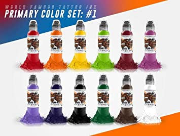 Amazon.com: 12 Bottle Primary Color Ink Set #1 - World Famous Tattoo ...