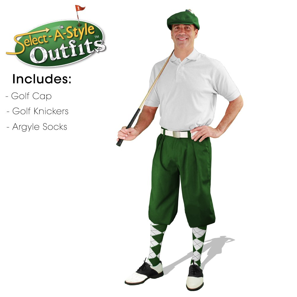 Mens Select-A-Style Golf Knicker Outfit - Dark Green - Waist 46 - Sock - DG/KH/WH