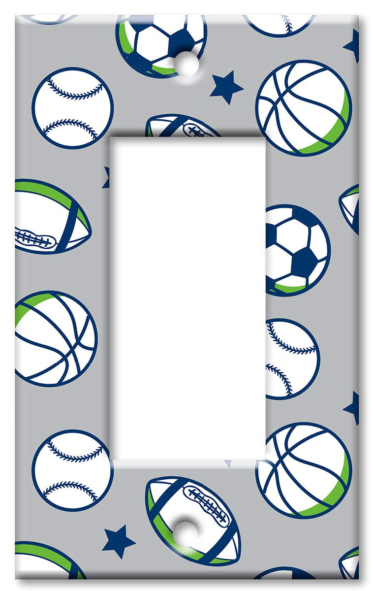 Sports Balls Art Plates 2 Gang Toggle Oversize Switch Plate Over Size Wall Plate