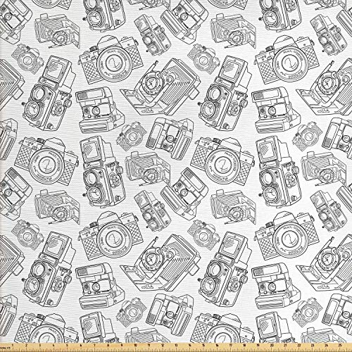 Ambesonne Vintage Fabric by The Yard, Antique Old Camera Monochrome Design Photography Hobby Technology Theme, Decorative Fabric for Upholstery and Home Accents, 1 Yard, Charcoal Grey White