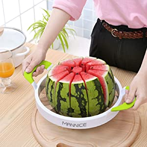 Extra Large Watermelon Slicer,Stainless Steel Watermelon Slicer As Seen On TV,Comfort Silicone Handle,Fruit Slicer Cutter Corer for Cantaloup Melon,Pineapple,Honeydew,Round (Green, Large)