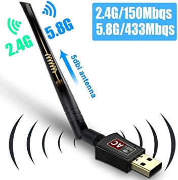 Kekilo: antena wifi USB AC600, banda dual inalámbrica, 2,4 G / 150 Mbps + 5G / 433 Mbps, USB 2.0, antena compatible con Windows 10 / 8 / 7 / XP / ...