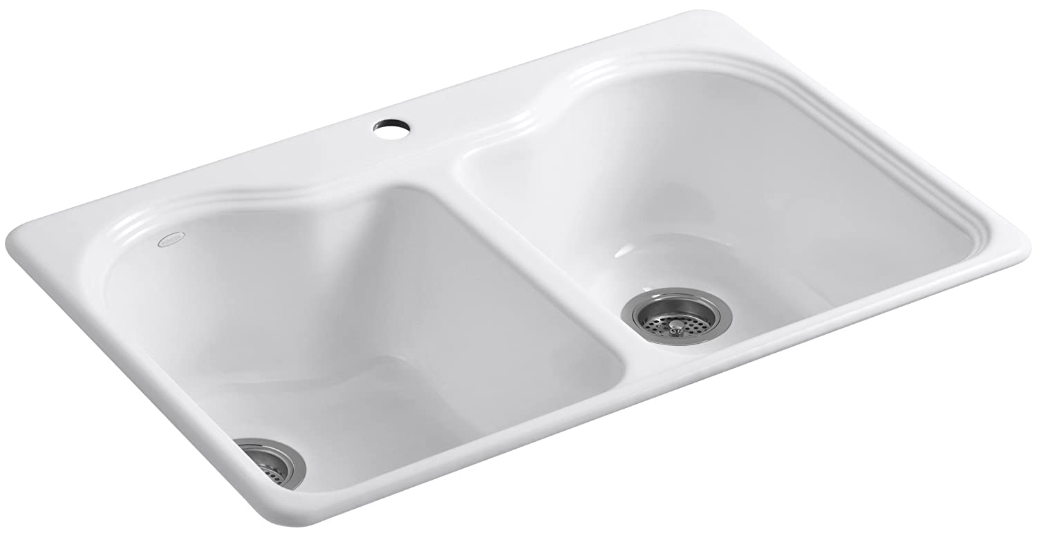 KOHLER K-5818-1-0 Hartland Self-Rimming Kitchen Sink with Single-Hole Faucet Drilling, White