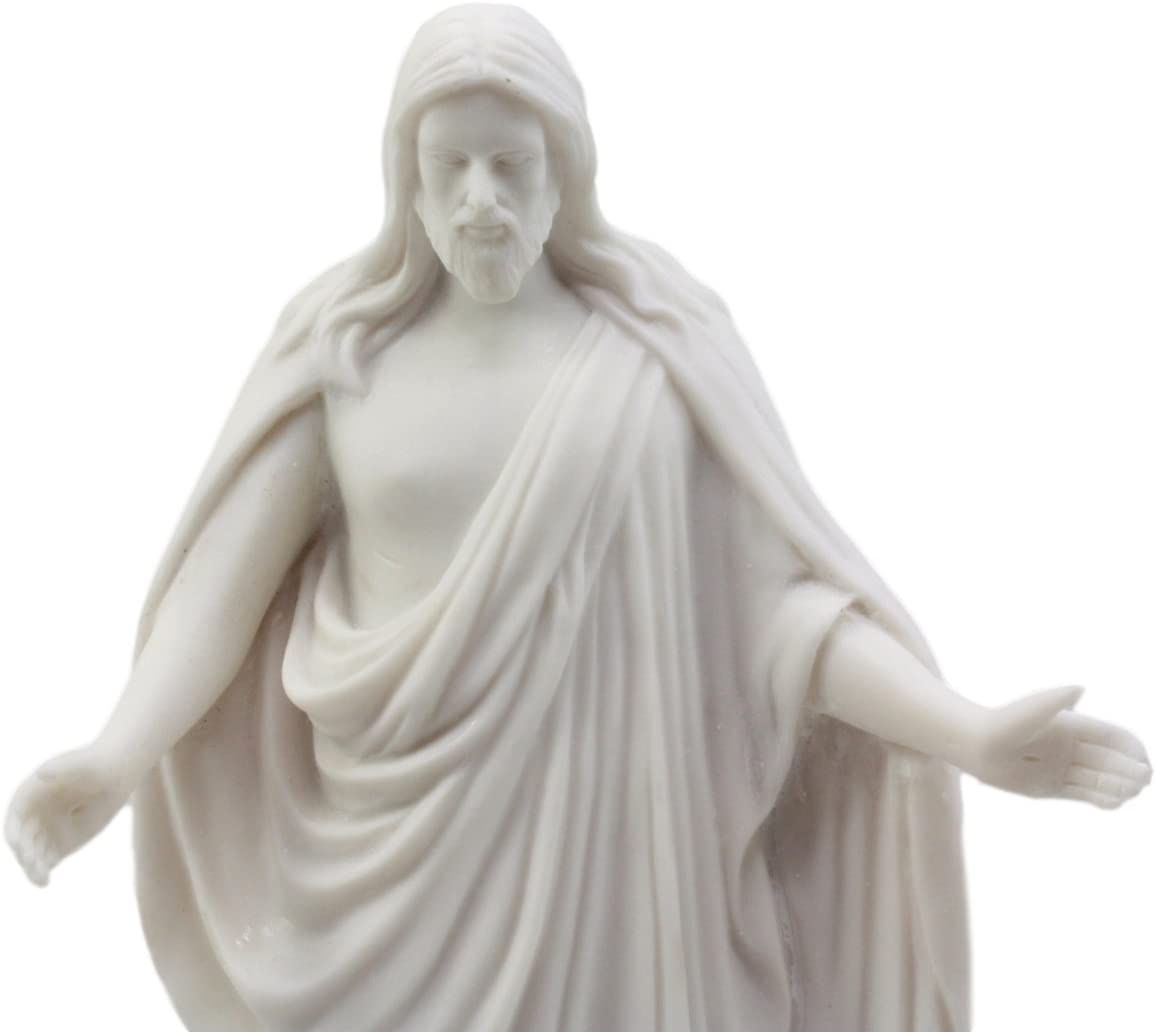 3 Inches LDS CTR Christus White Cultured Marble Jesus Christ Statue Handmade