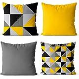 Kit 4 Almofadas decorativa personalizada amarelo e cinza 45x45