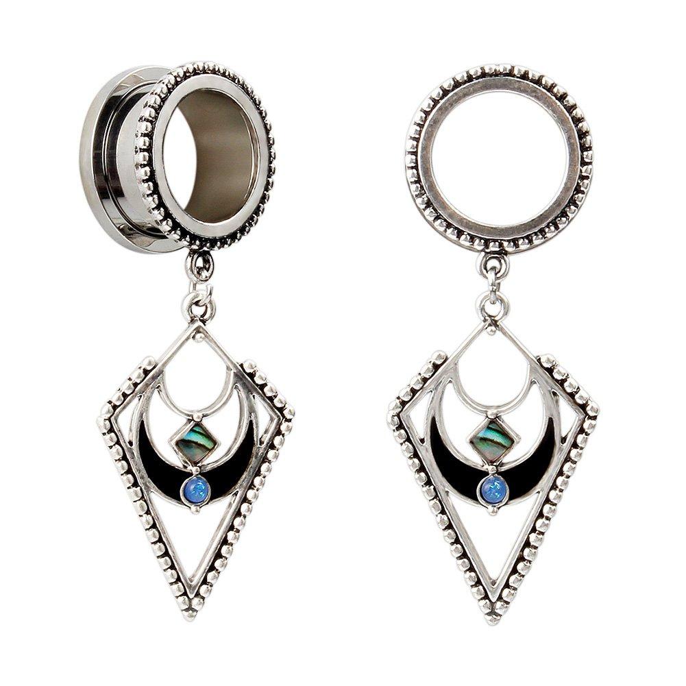 KUBOOZ Popular Dangle Pendant Jewelry Opal Stainless Steel Screw Bck Ear Plugs Tunnels Gauges 0g by KUBOOZ