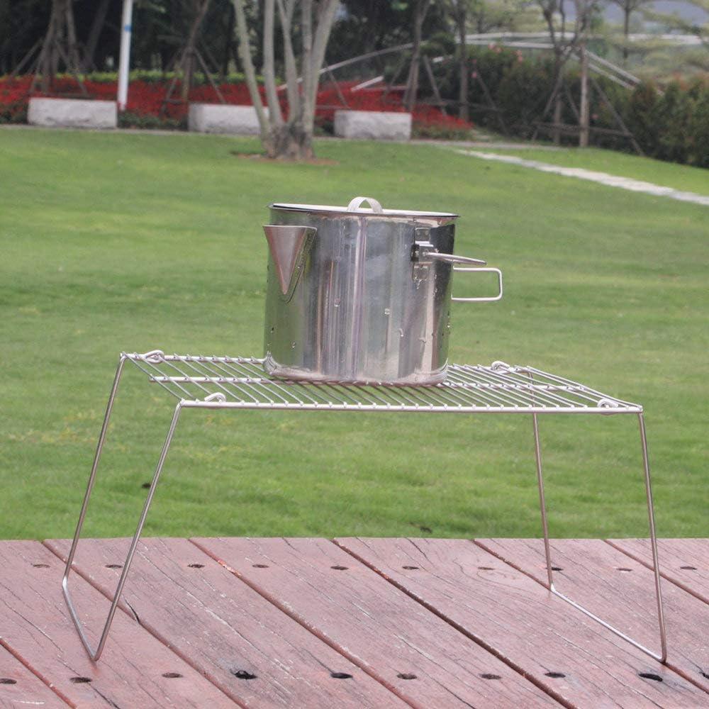 Lixada Parrilla de Carb/ón Plegable Parrilla de Picnic de Acero Inoxidable Parrilla de Camping Estante de Cocina Port/átil al Aire Libre