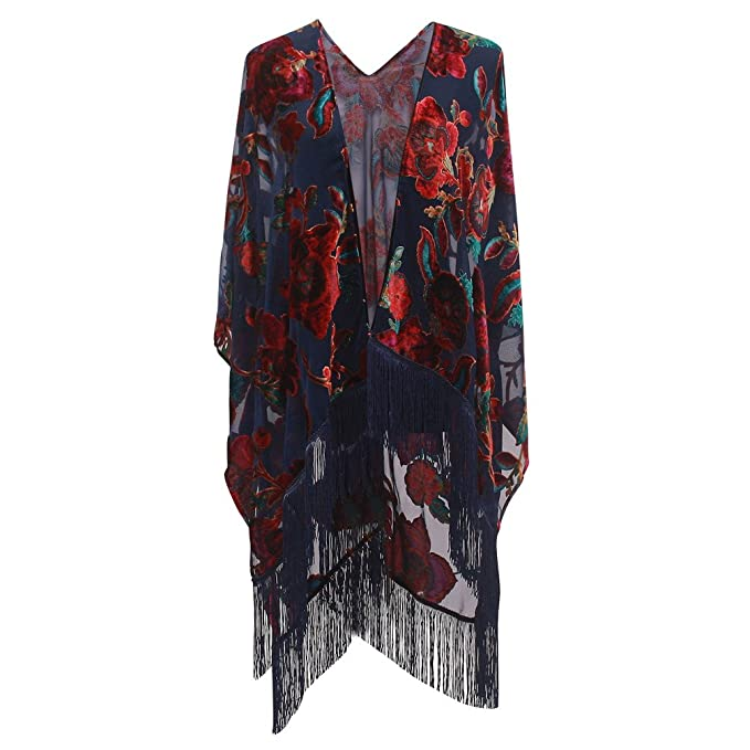 1920s Shawls, Scarves and Evening Jacket Tips Genovega Burnout Velvet Kimono Cover up - Women Floral Ruana Poncho Cardigan Dress with Fringe  AT vintagedancer.com