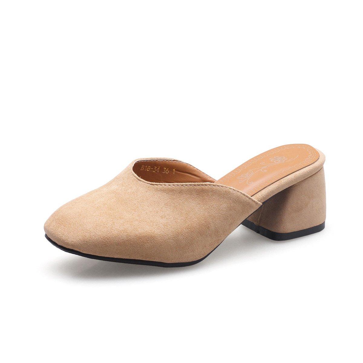 MEI&S Damen Square Sandalen Toe Block Heels Sandalen Square Flip Flop Apricot d58aa9