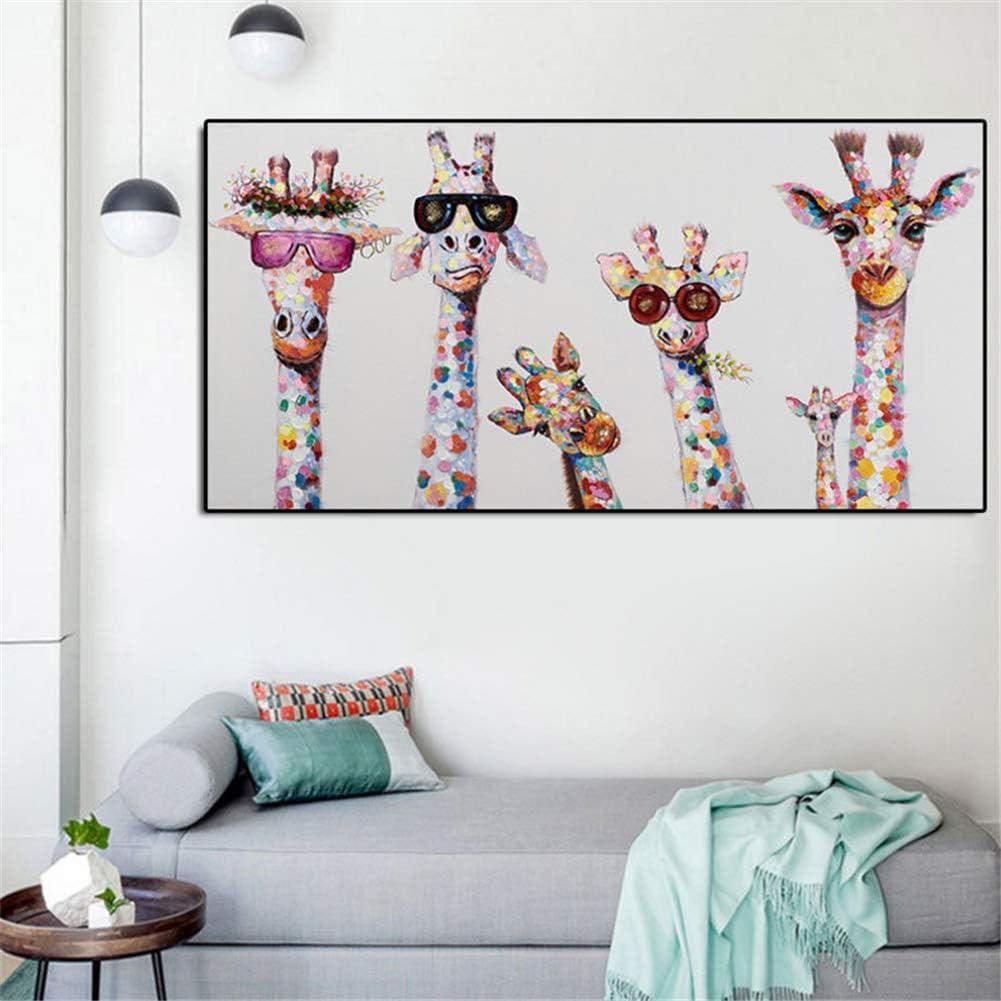 Graffiti Art Animal Curieux Girafes Famille Affiche Imprime Image D/écorative Graphique Illustration pour Enfants Chambre D/écor 60x120 cm sans cadre
