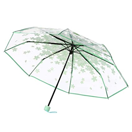 Plegable Paraguas, yuyoug portabilidad transparente paraguas Cherry Blossom seta Apollo Sakura 3 Fold paraguas anti