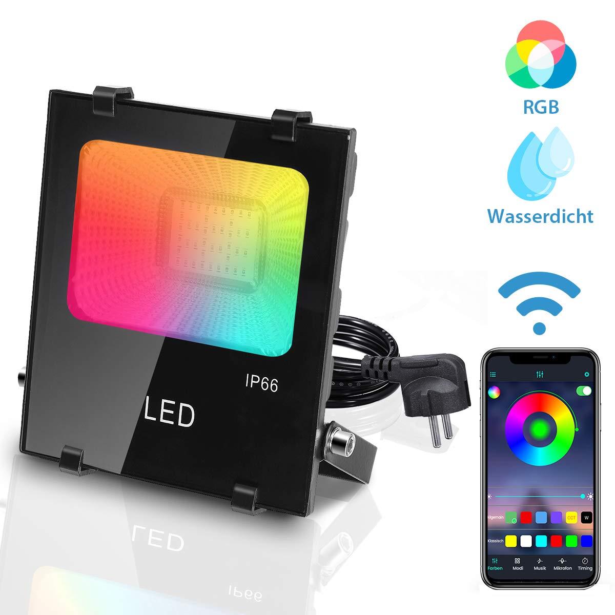 AMBOTHER Foco LED para exteriores, luz de trabajo RGB 15W IP66 a ...