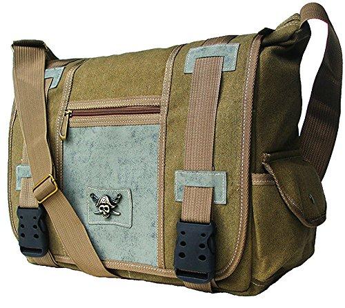 UPC 722301667347, Khaki Green Military Inspired Canvas Messenger Bag Laptop Case Bookbag