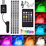 Car Underglow Light,72 LED Glow Under Car Lights Strip Sound Actived Underglow Lighting Kit Function Running RGB Colors Strips Wireless Remote Control Atmosphere Lights