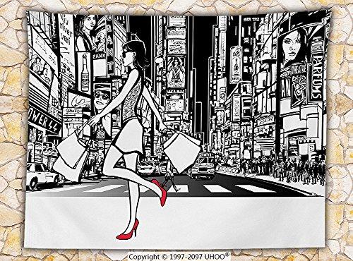 Girly Decor Fleece Throw Blanket Girl Shopping in Times Square New York City Night Cityscape Monochrome Sketch Style Print - Washington Square Shopping