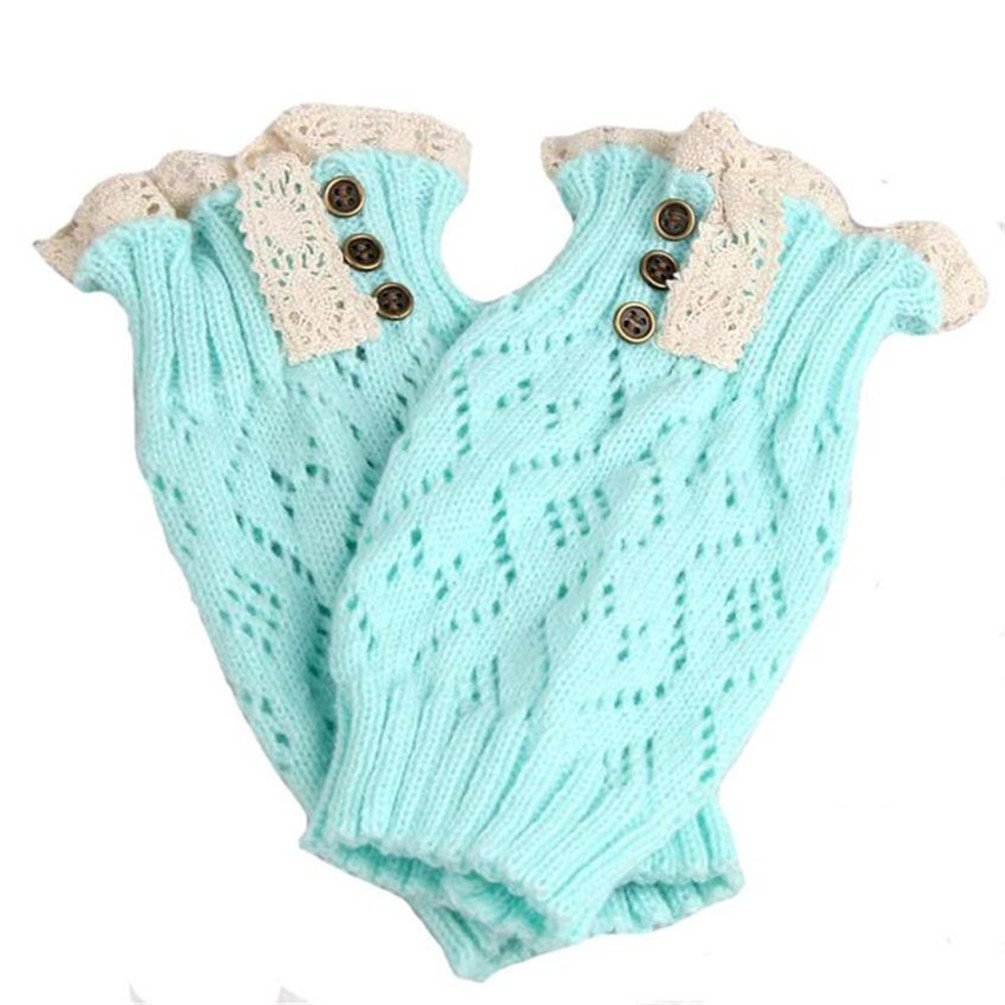 Ponce 2 Pair Soft Winter Warm Kids Girls Baby Trendy Knitted Lace Leg Warmers Infants Toddlers Trim Boot Cuffs Socks Knee High