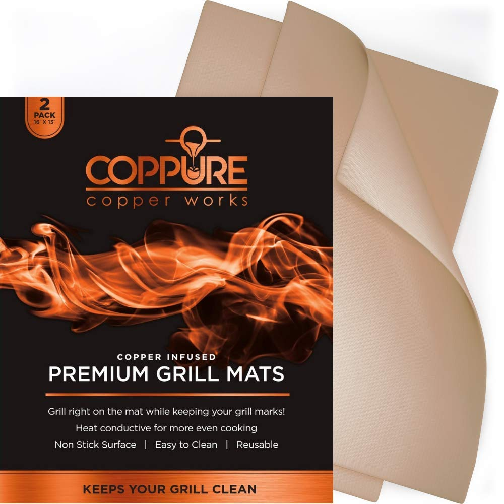 Coppure BBQ Grill Mat- Set of 2 Nonstick Copper Mats - Reusable and Easy to Clean- Great for Grilling or Baking Works on Grills Oven and More- FDA Approved