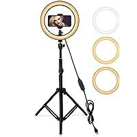 Aro de luz para selfie, maquillaje con soporte de trípode ajustable de 68 cm a 2.10 m con 3 modos de iluminación y 10…