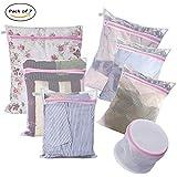 WJIANG Laundry Bags-Set of 7 Mesh Washing Bags for Blouse,Sweater,Stocking,Delicates Laundry Travel Organizer Bag-Coarse Mesh:1XL 1L 1M;Fine Mesh:1L 2M;1 Sandwich Bra Bag
