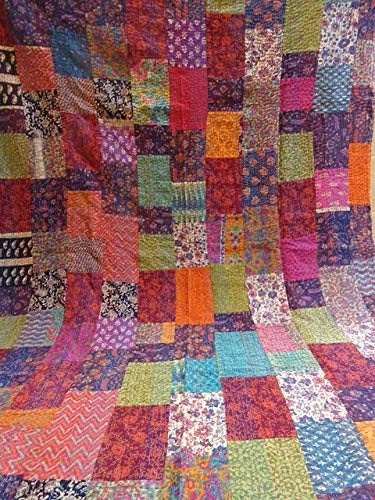 Tribal Asian Textiles Twin Size Handmade Ajarak Cotton Block Indigo Print Kantha Quilt Reversible Throw Sari