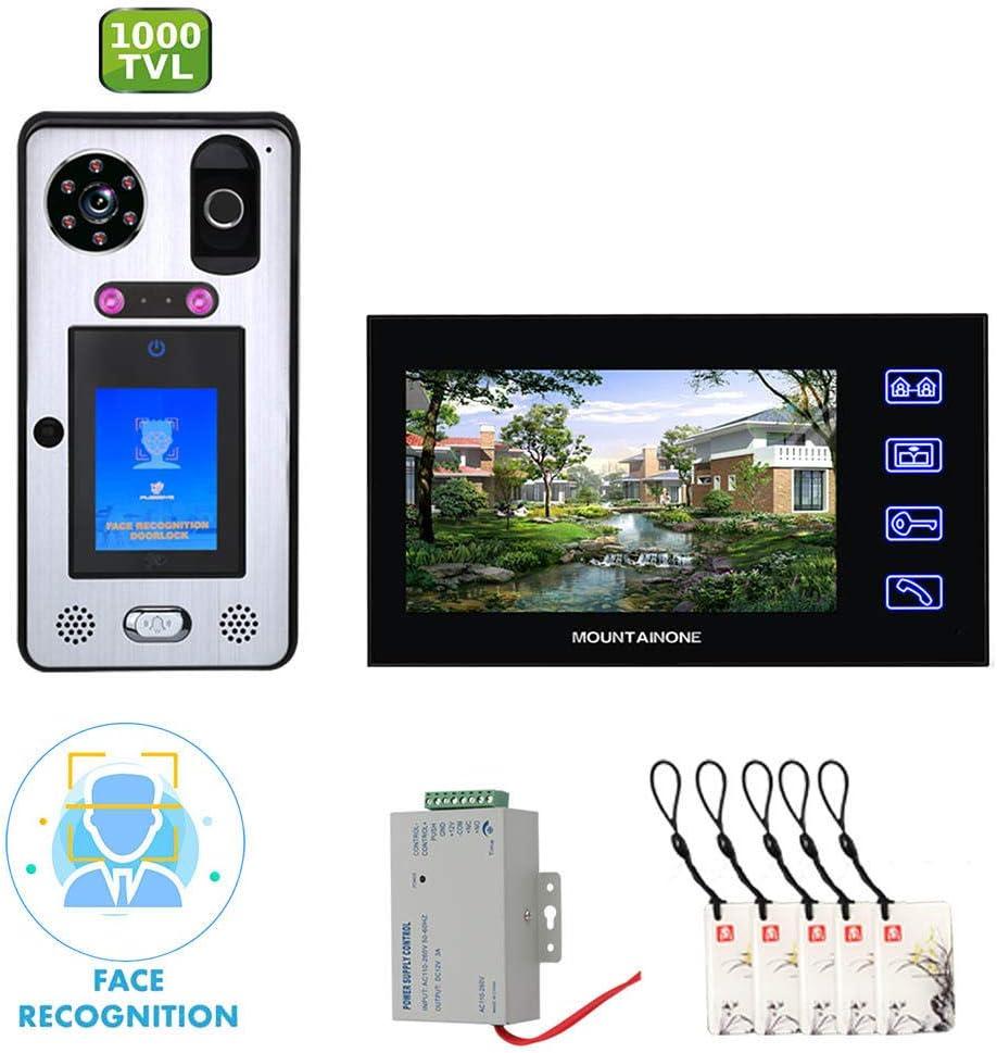 Cámara de video DYWLQsmart para el hogar,sensor de reconocimiento facial Kit de timbre de intercomunicador manos libres DoorPhone,monitor táctil de 7 pulgadas 2 *,cámara infrarroja 1000TVL