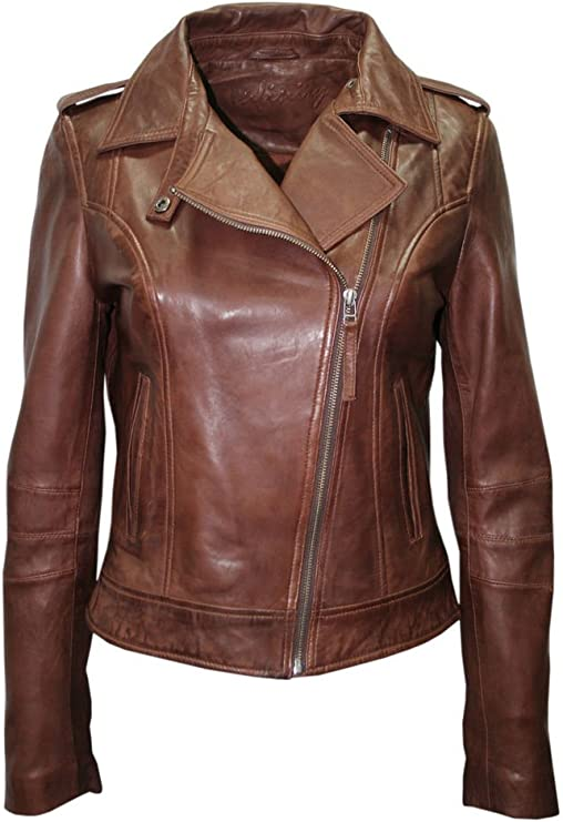 Infinity Ladies Brown Casual Retro Brando Soft Nappa Leather Biker Jacket