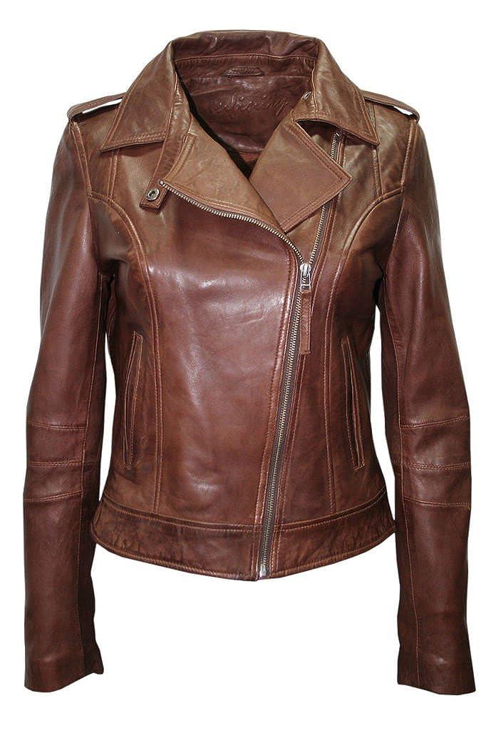 Ladies Retro Brando Chestnut Brown Biker Casual Nappa Leather Jacket Infinity 422