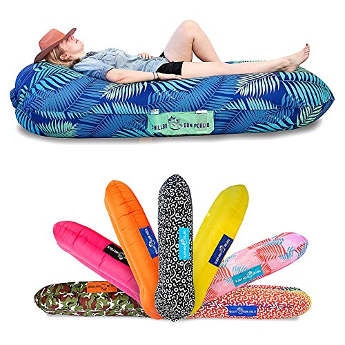 Chillbo Don POOLIO Pool Floats for Adults - Cool Patterns, Inflatable Sofa & Kids Hammock - Best Camping Gear for River Floats Hammock Chair & Raft for Beach (Blue Leaf)