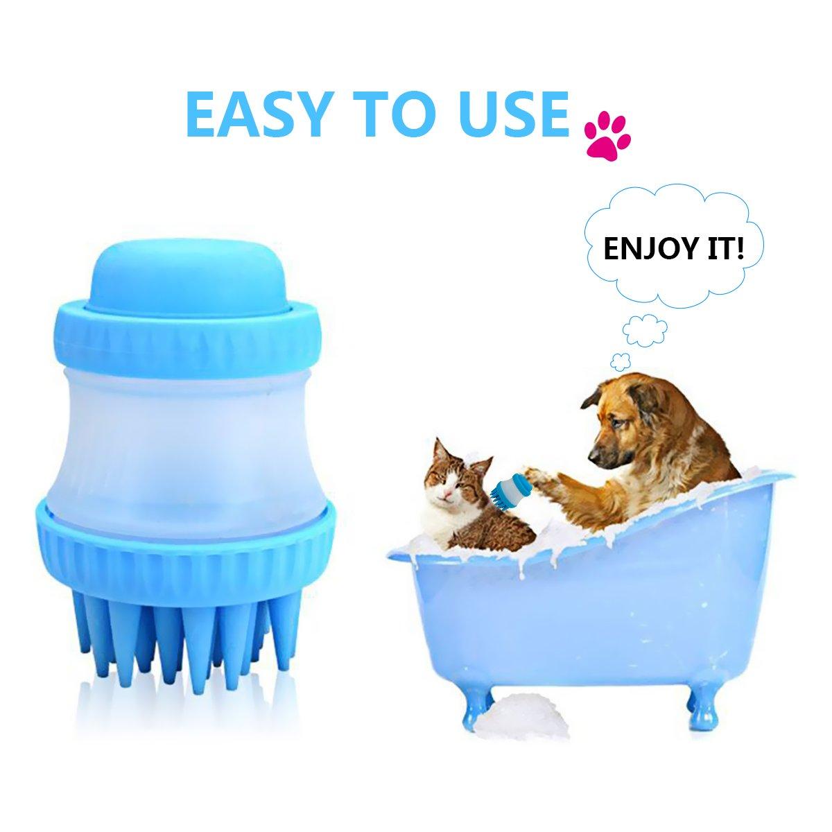 Mascotas Cepillo de masaje para baño HUOU Silicona para mascotas Cepillo de champú Perros Ducha Baño Masajeador Lavador Peine de lavado extraíble con ...