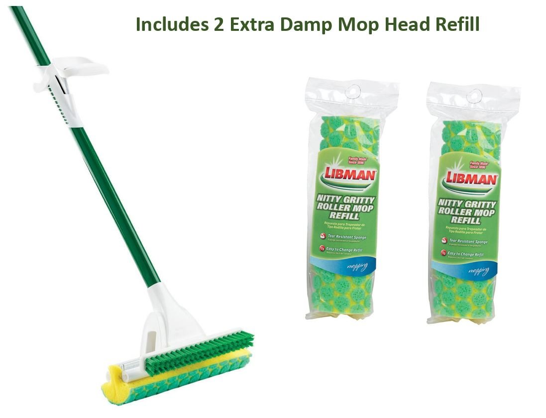 Libman Nitty Gritty Roller Mop With 2 Extra Mop Head Refill by Libman