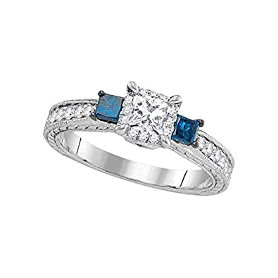 Image Unavailable. Image not available for. Color  Womens 3-stone Blue  Color Enhanced Diamond Wedding Bridal Engagement Ring ... 9eef257c11