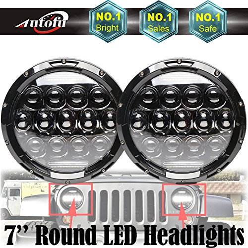 7' Conversion Round Headlamp (Pair of LED Headlights 7 Inch Round High Low DRL Sealed Beam Bulb H5024 5024 6012 6014 6015 H6017 H6024 Conversion Kit Super Bright 6000K White for Jeep Wrangler Toyota Truck FJ (2018 Newest Design))